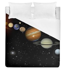 Outer Space Planets Solar System Duvet Cover (Queen Size) by Onesevenart