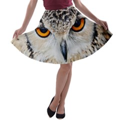 Owl Face A-line Skater Skirt by Onesevenart