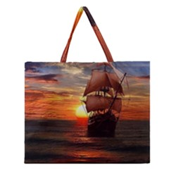 Pirate Ship Zipper Large Tote Bag by Onesevenart
