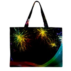 Rainbow Fireworks Celebration Colorful Abstract Zipper Mini Tote Bag by Onesevenart