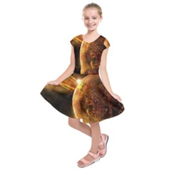 Sci Fi Planet Kids  Short Sleeve Dress by Onesevenart