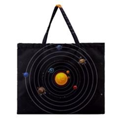Solar System Zipper Large Tote Bag by Onesevenart