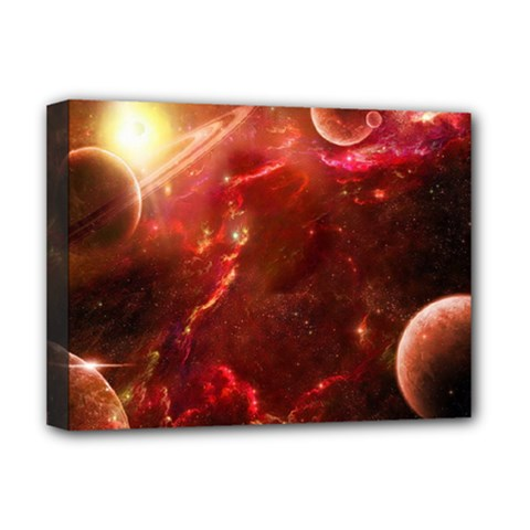 Space Red Deluxe Canvas 16  X 12   by Onesevenart