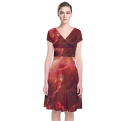 Space Red Short Sleeve Front Wrap Dress by Onesevenart