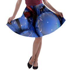Spheres With Horns 3d A-line Skater Skirt by Onesevenart