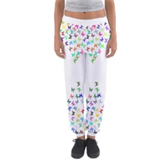 Prismatic Negative Space Butterflies Women s Jogger Sweatpants by AnjaniArt