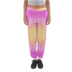 Round Bright Pink Flower Floral Women s Jogger Sweatpants by AnjaniArt