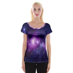 Galaxy Space Purple Women s Cap Sleeve Top by AnjaniArt