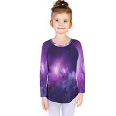 Galaxy Space Purple Kids  Long Sleeve Tee by AnjaniArt