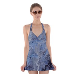 Frost Leafe Halter Swimsuit Dress by AnjaniArt