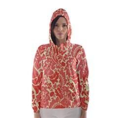 Red Floral Hooded Wind Breaker (women)