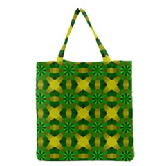 Background Colour Circle Yellow Green Grocery Tote Bag by AnjaniArt
