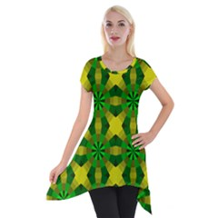Background Colour Circle Yellow Green Short Sleeve Side Drop Tunic by AnjaniArt