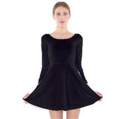 Black Color Long Sleeve Velvet Skater Dress by AnjaniArt