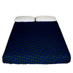 Chain Blue Green Woven Fabric Fitted Sheet (queen Size) by AnjaniArt