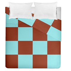 Box Chevron Brown Blue Duvet Cover Double Side (queen Size) by AnjaniArt