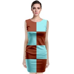 Box Chevron Brown Blue Classic Sleeveless Midi Dress by AnjaniArt