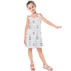 Bird Feathers Purple Gray Kids  Sleeveless Dress