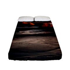 Vestrahorn Iceland Winter Sunrise Landscape Sea Coast Sandy Beach Sea Mountain Peaks With Snow Blue Fitted Sheet (full/ Double Size) by Onesevenart
