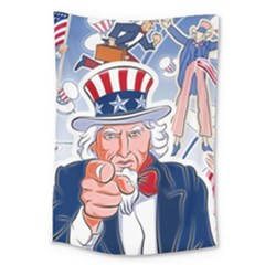 United States Of America Celebration Of Independence Day Uncle Sam Large Tapestry by Onesevenart