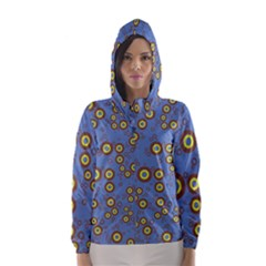 Circle Purple Yellow Hooded Wind Breaker (women) by AnjaniArt