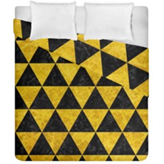 Triangle3 Black Marble & Yellow Marble Duvet Cover Double Side (california King Size) by trendistuff