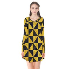 Triangle1 Black Marble & Yellow Marble Long Sleeve V Neck Flare Dress by trendistuff