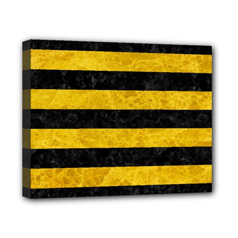 Stripes2 Black Marble & Yellow Marble Canvas 10  X 8  (stretched) by trendistuff
