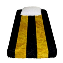 Stripes1 Black Marble & Yellow Marble Fitted Sheet (single Size) by trendistuff