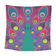 Colorful Peacock Line Square Tapestry (large) by AnjaniArt