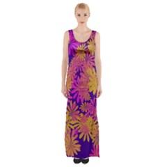 Floral Pattern Purple Rose Maxi Thigh Split Dress by AnjaniArt
