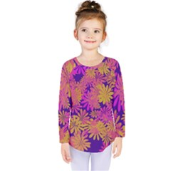 Floral Pattern Purple Rose Kids  Long Sleeve Tee by AnjaniArt
