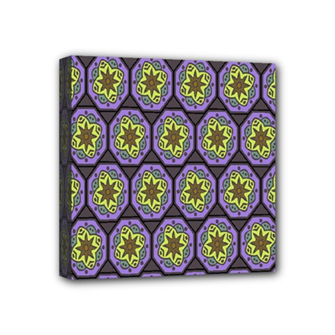 Background Colour Star Flower Purple Yellow Mini Canvas 4  X 4  by AnjaniArt