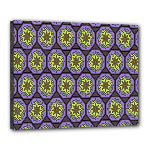 Background Colour Star Flower Purple Yellow Canvas 20  X 16  by AnjaniArt