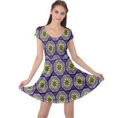 Background Colour Star Flower Purple Yellow Cap Sleeve Dresses by AnjaniArt