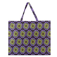 Background Colour Star Flower Purple Yellow Zipper Large Tote Bag by AnjaniArt