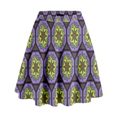 Background Colour Star Flower Purple Yellow High Waist Skirt by AnjaniArt