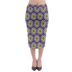 Background Colour Star Flower Purple Yellow Midi Pencil Skirt by AnjaniArt