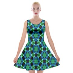 Background Star Colour Green Blue Velvet Skater Dress by AnjaniArt