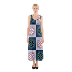 Background Colour Flower Box Sleeveless Maxi Dress by AnjaniArt
