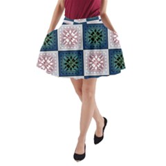 Background Colour Flower Box A Line Pocket Skirt by AnjaniArt