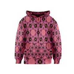 Background Colour Star Pink Flower Kids  Zipper Hoodie by AnjaniArt