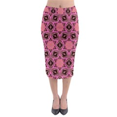 Background Colour Star Pink Flower Midi Pencil Skirt by AnjaniArt
