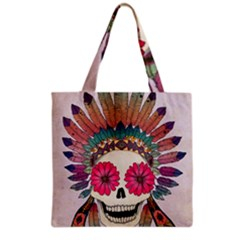 Tribal Hipster Colorful Skull Grocery Tote Bag by Brittlevirginclothing