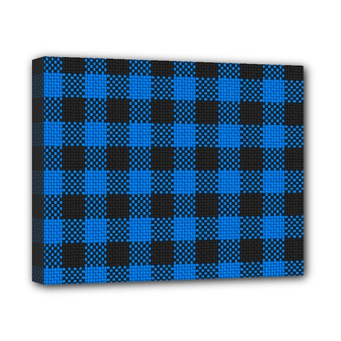 Black Blue Check Woven Fabric Canvas 10  X 8  by AnjaniArt
