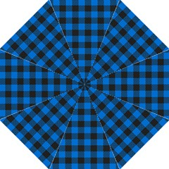 Black Blue Check Woven Fabric Hook Handle Umbrellas (large) by AnjaniArt