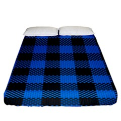 Black Blue Check Woven Fabric Fitted Sheet (king Size) by AnjaniArt