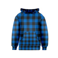 Black Blue Check Woven Fabric Kids  Pullover Hoodie