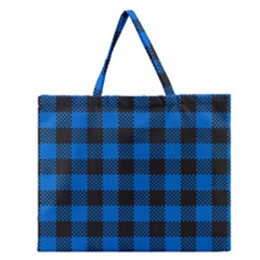 Black Blue Check Woven Fabric Zipper Large Tote Bag by AnjaniArt