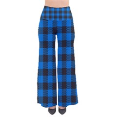 Black Blue Check Woven Fabric Pants by AnjaniArt